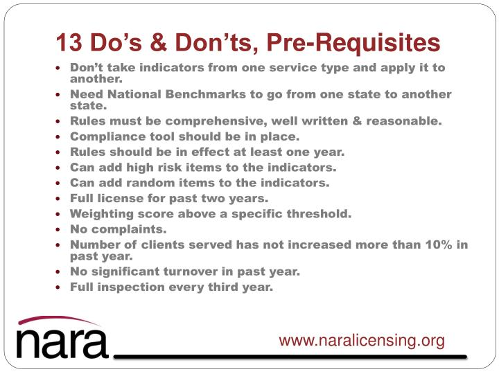 13 Do's & Don'ts, Pre-Requisites