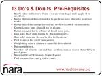 13 do s don ts pre requisites