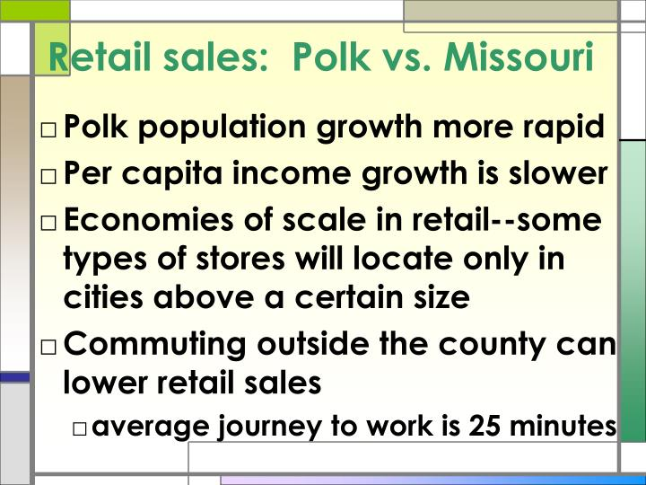 Retail sales:  Polk vs. Missouri