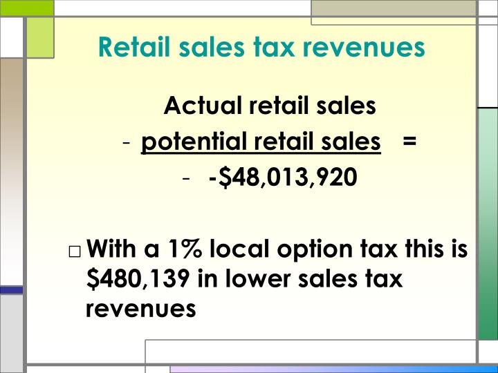 Retail sales tax revenues