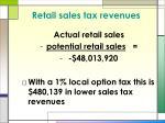 retail sales tax revenues