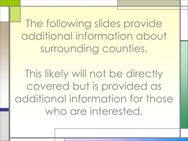 The following slides provide additional information about surrounding counties.