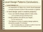 level design patterns conclusions