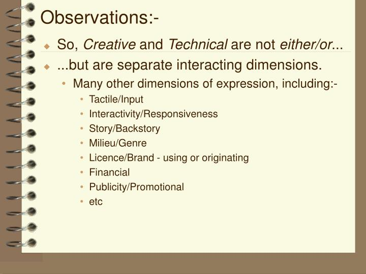 Observations:-