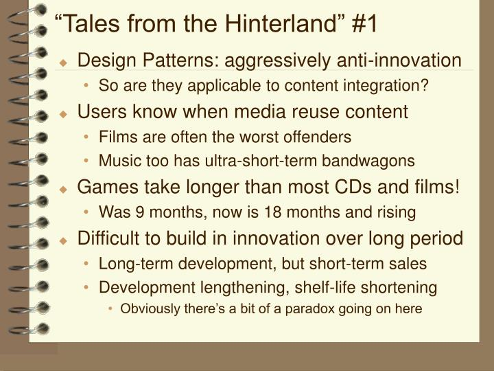 """Tales from the Hinterland"" #1"