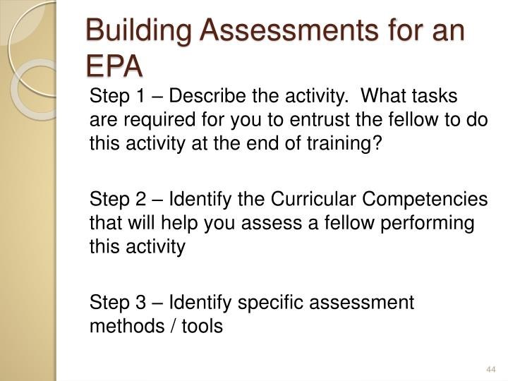 Building Assessments for an EPA