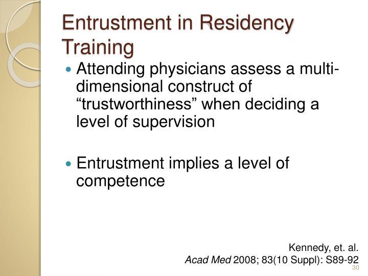 Entrustment in Residency Training