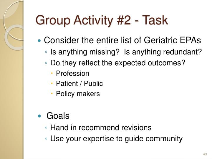 Group Activity #2 - Task
