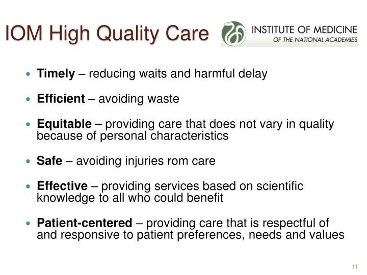 IOM High Quality Care