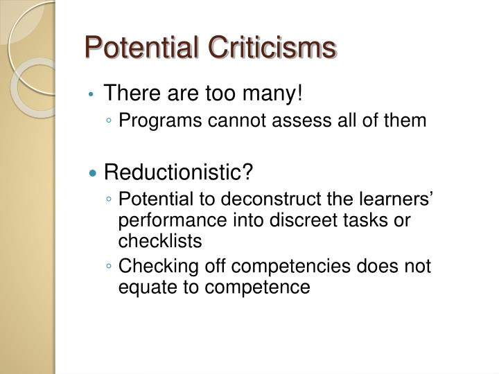 Potential Criticisms
