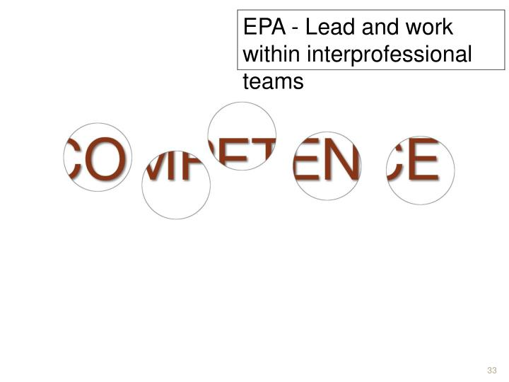 EPA - Lead and work within interprofessional teams