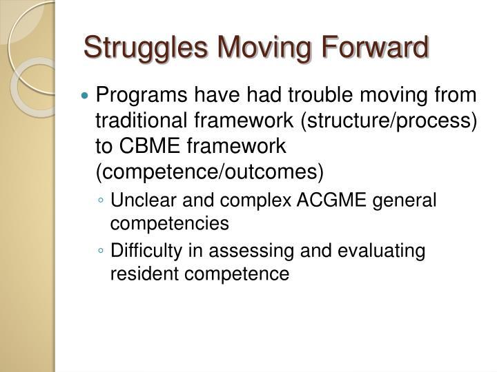 Struggles Moving Forward
