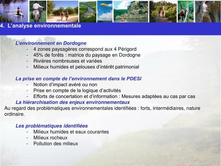 4.  L'analyse environnementale