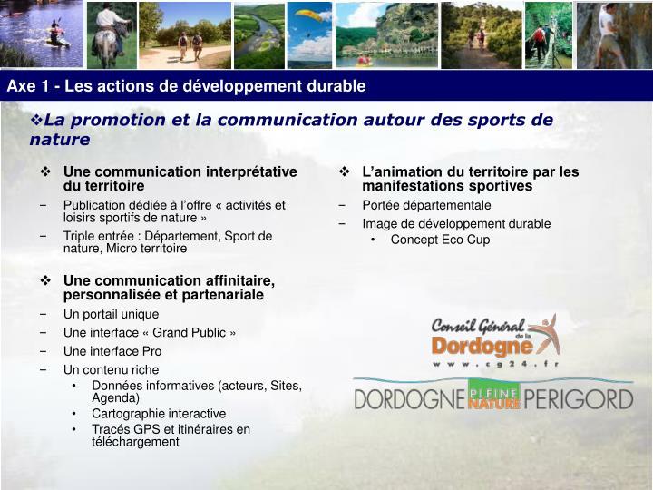 Axe 1 - Les actions de développement durable