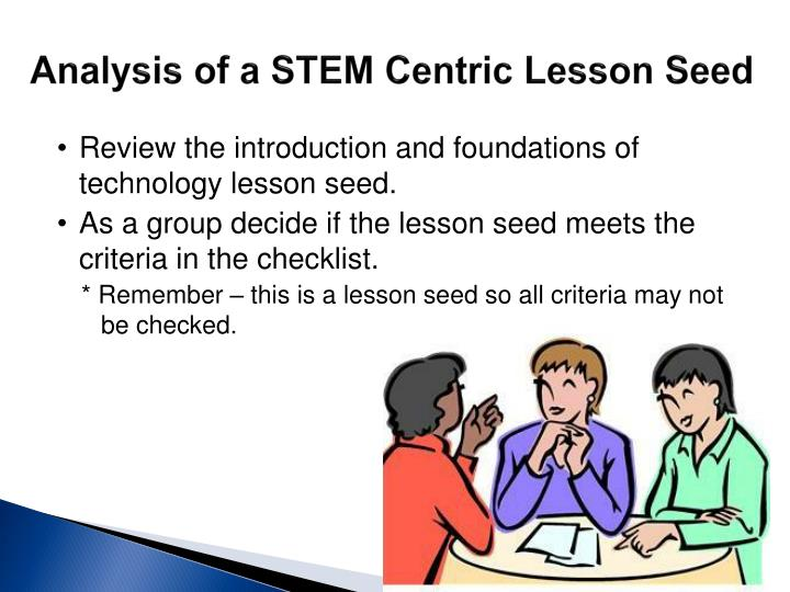 Analysis of a STEM Centric Lesson Seed