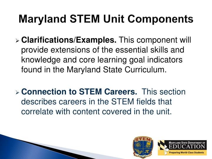 Maryland STEM Unit Components
