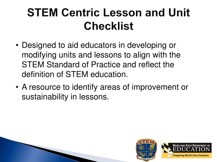 STEM Centric Lesson and Unit Checklist