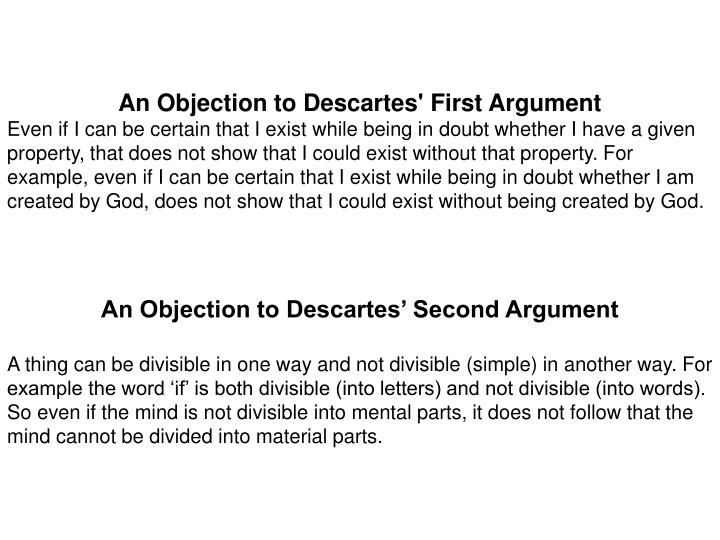 a demonstration of descartes concept of doubt in the second meditations What do people think of the descartes wax argument  descartes introduces the method of doubt  now comes the wax argument in the second meditations.