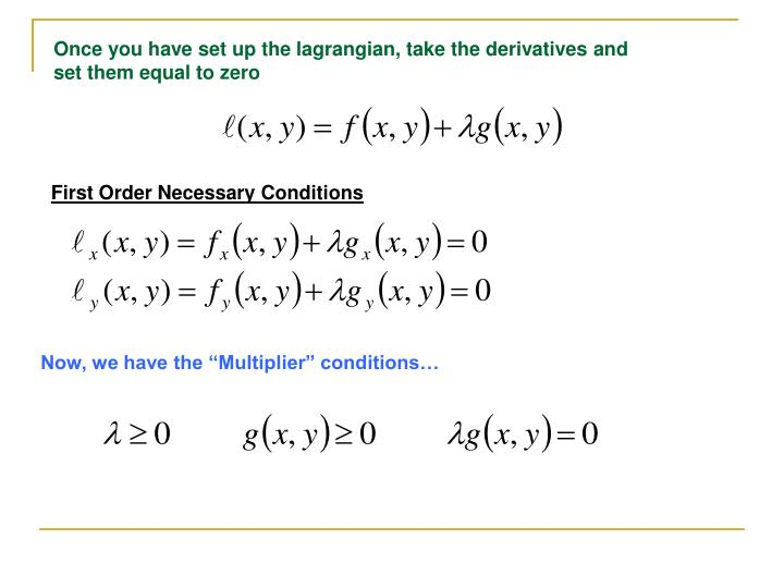 Once you have set up the lagrangian, take the derivatives and set them equal to zero