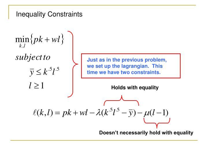 Inequality Constraints
