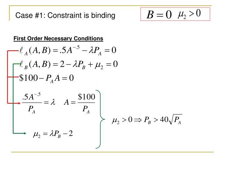 Case #1: Constraint is binding