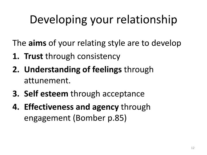 Developing your relationship