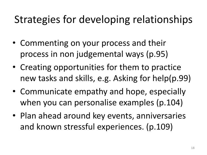 Strategies for developing relationships