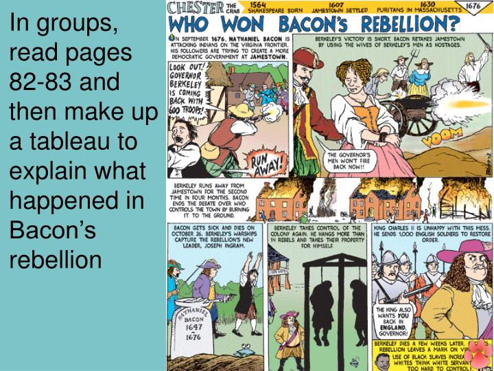 In groups, read pages 82-83 and then make up a tableau to explain what happened in Bacon's rebellion