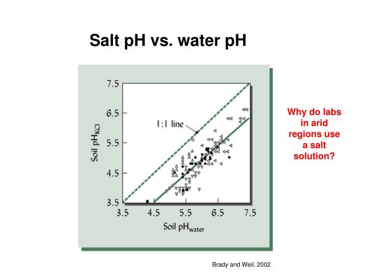 Salt pH vs. water pH