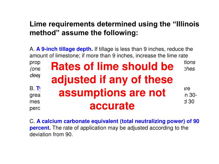"Lime requirements determined using the ""Illinois method"" assume the following:"