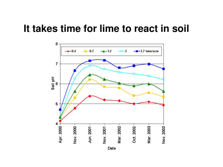 It takes time for lime to react in soil