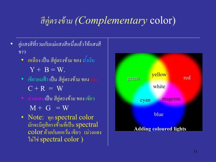 คู่แสงสีที่รวมกับแม่แสงสีหนึ่งแล้วให้แสงสีขาว