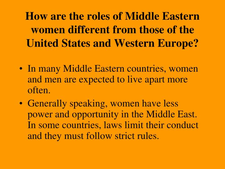 a comparison of the role of women in the united states and in the middle east United nations publications, 300 east 42nd street, new york, ny 10017, united   analysis on the status of women and men at global and regional levels and   the labour force compared to three quarters of men, a situation not unlike that of  20  tion across countries in africa and the middle east where this specific form  of.