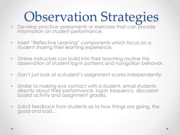 Observation Strategies