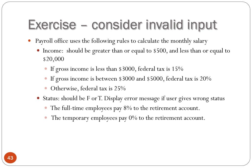 Exercise – consider invalid input