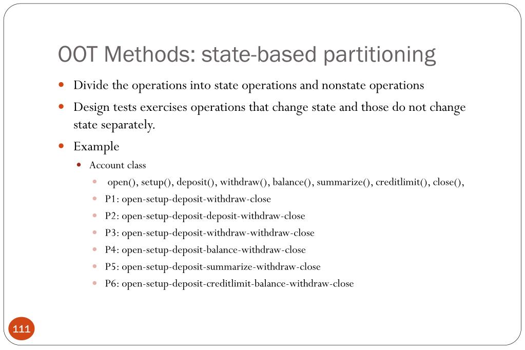 OOT Methods: state-based partitioning