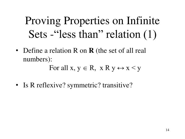 Proving Properties on Infinite Sets
