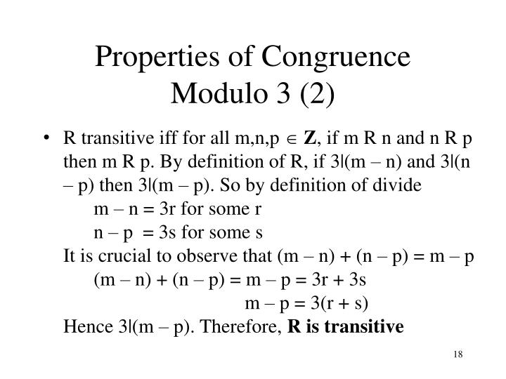 Properties of Congruence