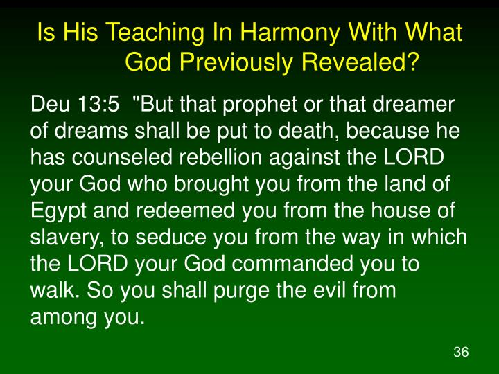 Is His Teaching In Harmony With What God Previously Revealed?