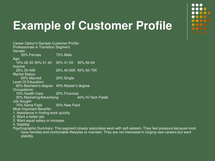 Example of Customer Profile
