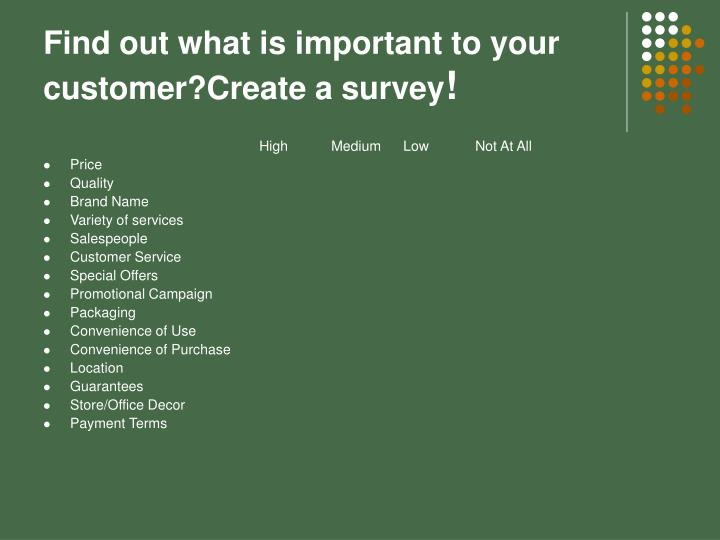 Find out what is important to your customer?Create a survey