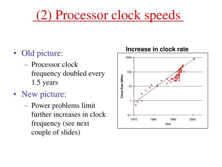 (2) Processor clock speeds