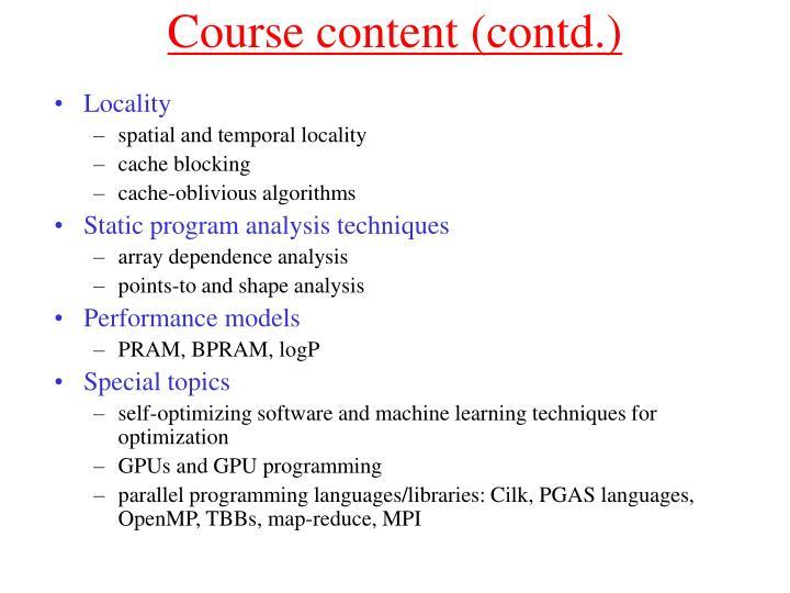 Course content (contd.)