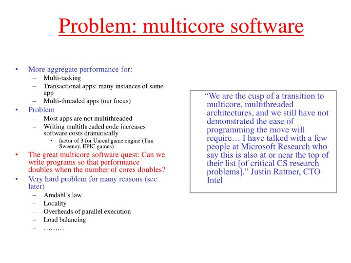 Problem: multicore software