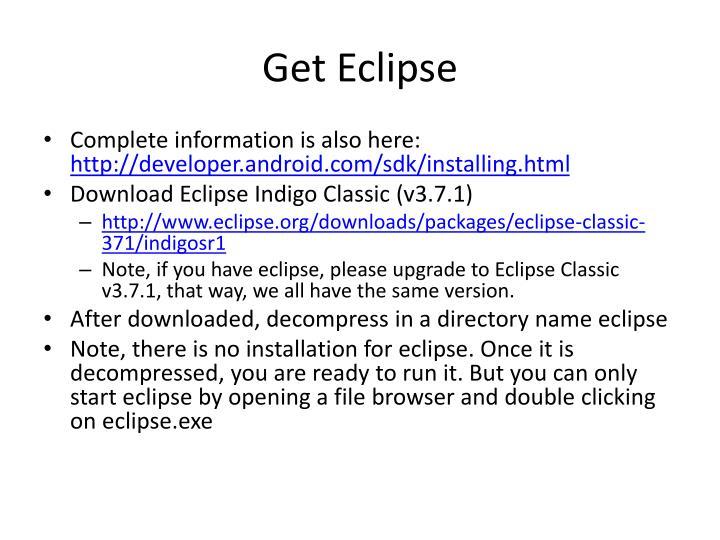 Get Eclipse