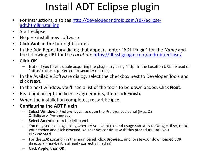 Install ADT Eclipse