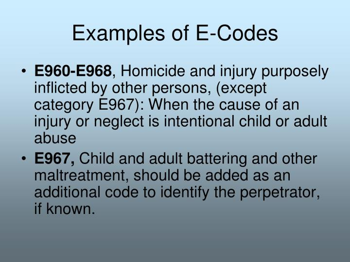 Examples of E-Codes