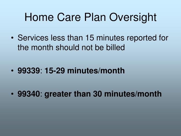 Home Care Plan Oversight