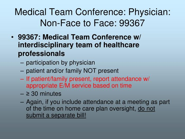 Medical Team Conference: Physician: Non-Face to Face: 99367