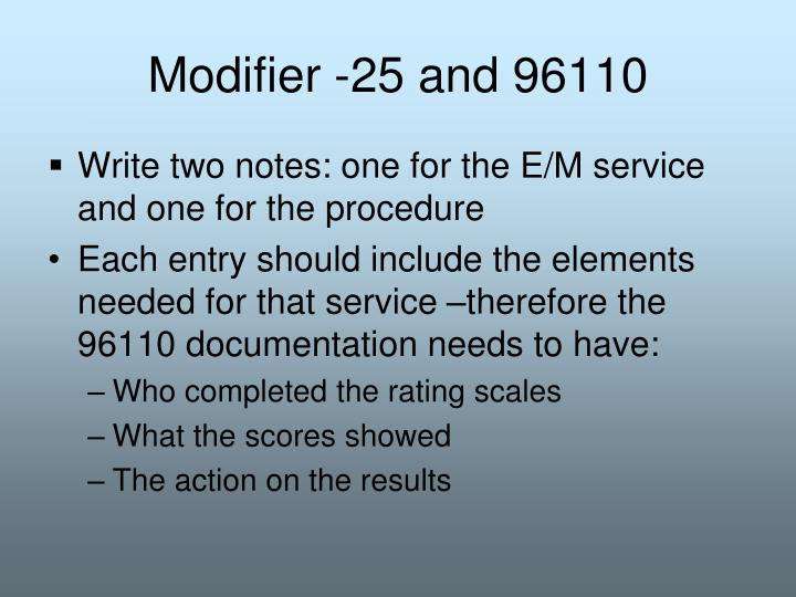 Modifier -25 and 96110